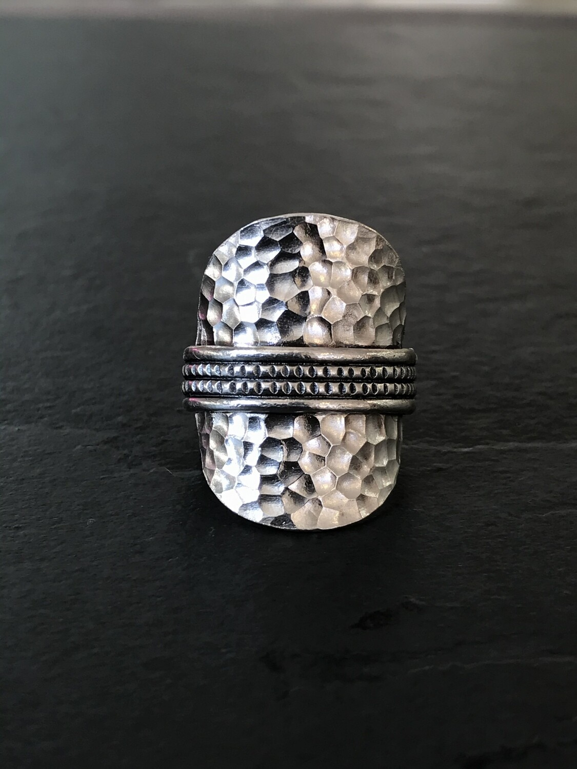Hill Tribe Silver Hatched Oval Ring - RAN9-2