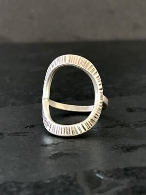 Hill Tribe Silver Open Oval Textured Ring - RAN4-1