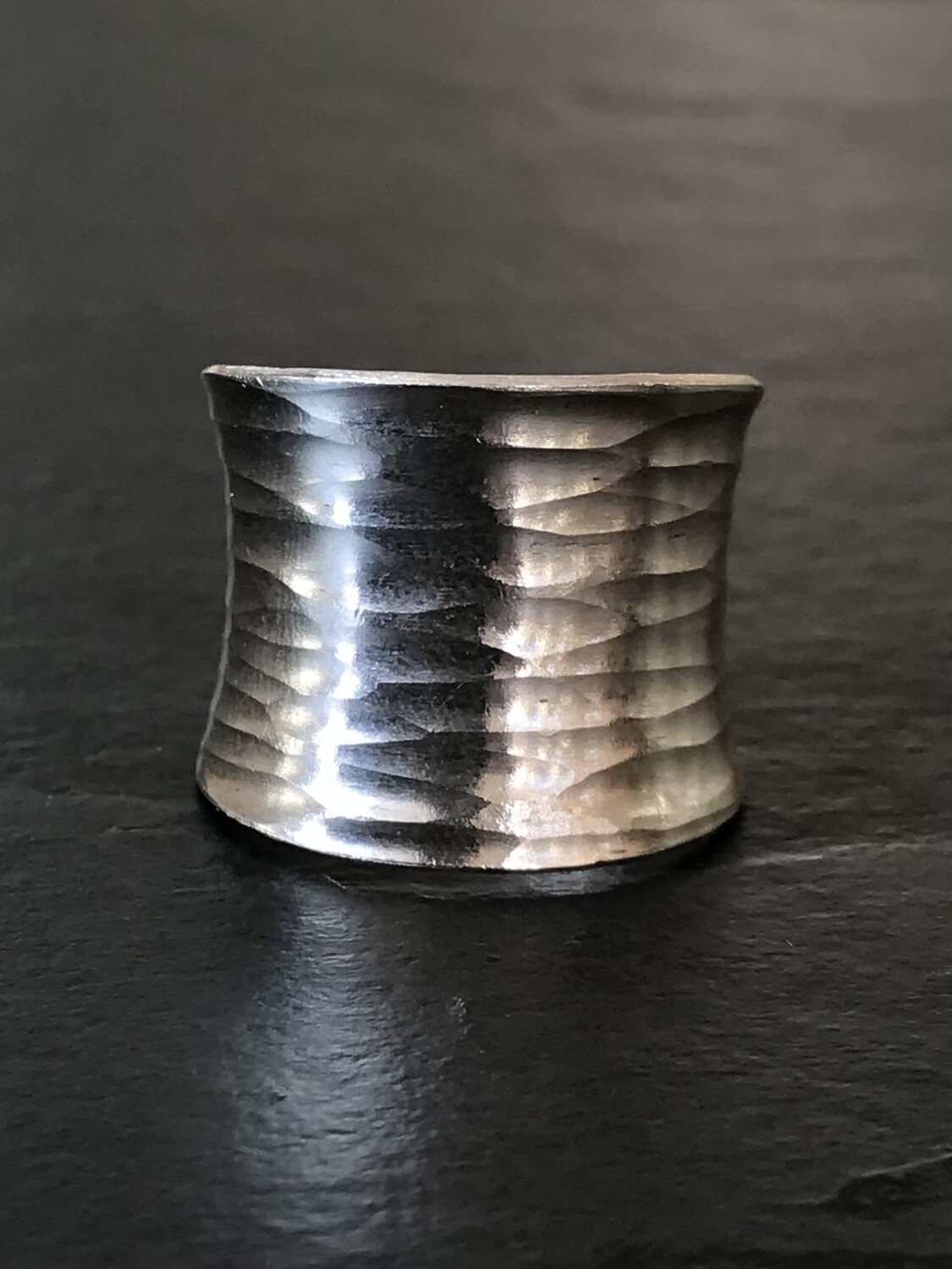 Hill Tribe Silver Wide Hammered Lines Ring- RAN2-1