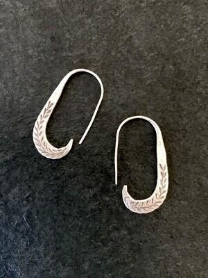 Hill Tribe Silver Leaf Hook Earrings - HTE7-2