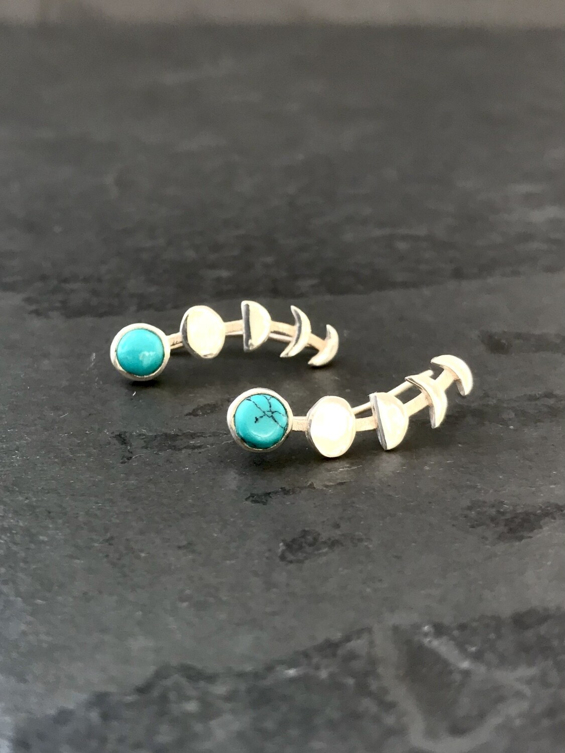 Sterling Silver Turquoise Moon Phase Ear Climbers - EB1