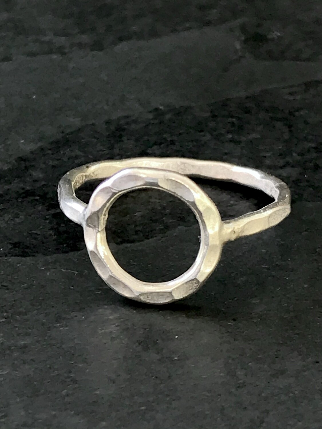 Hill Tribe Silver Hammered Circle Ring- RAN4-3
