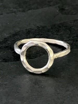 Hill Tribe Silver Hammered Circle Ring- RAN4-3