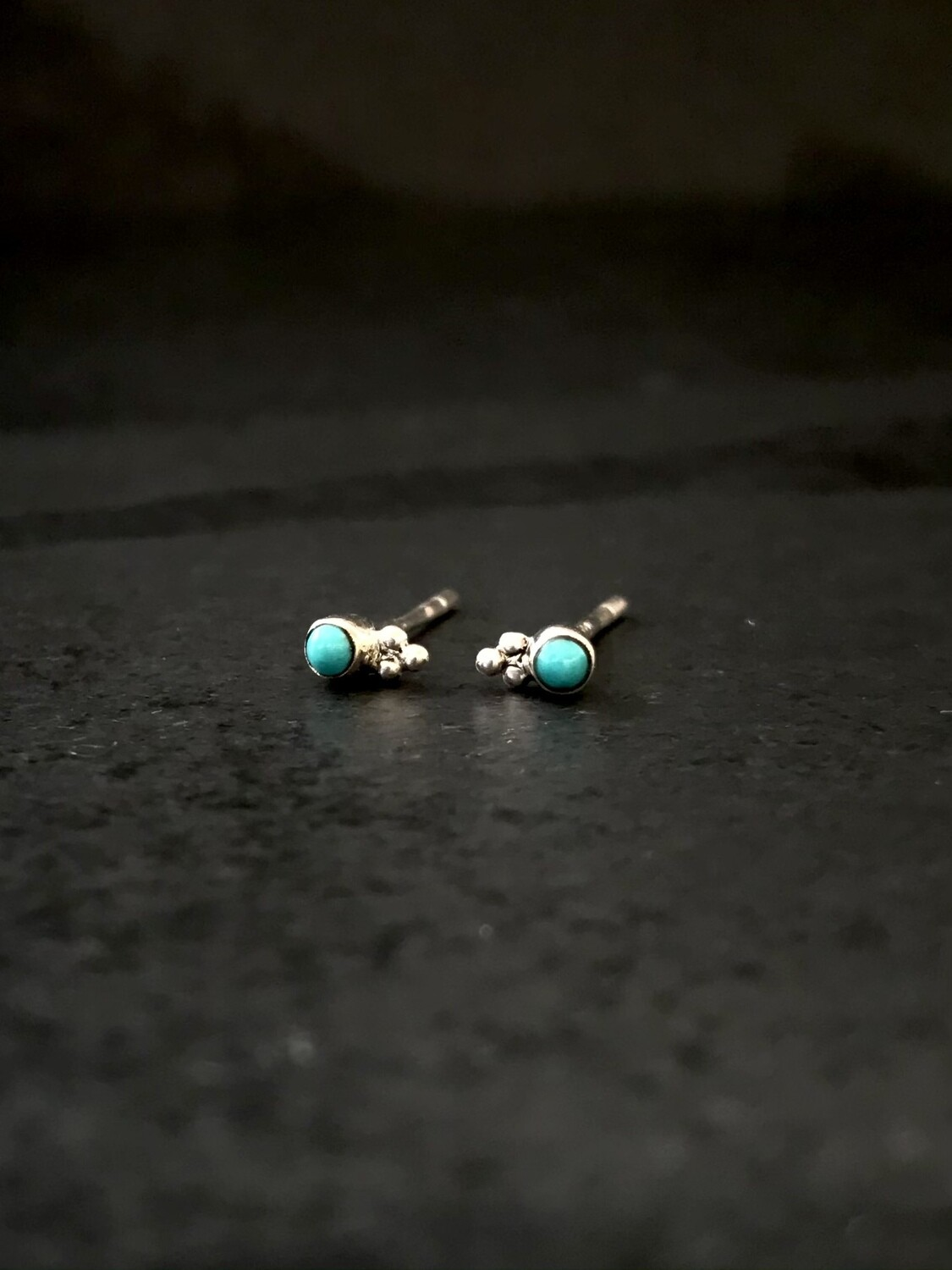 Sterling Silver Tiny Turquoise Dot Post Earrings - P90-1
