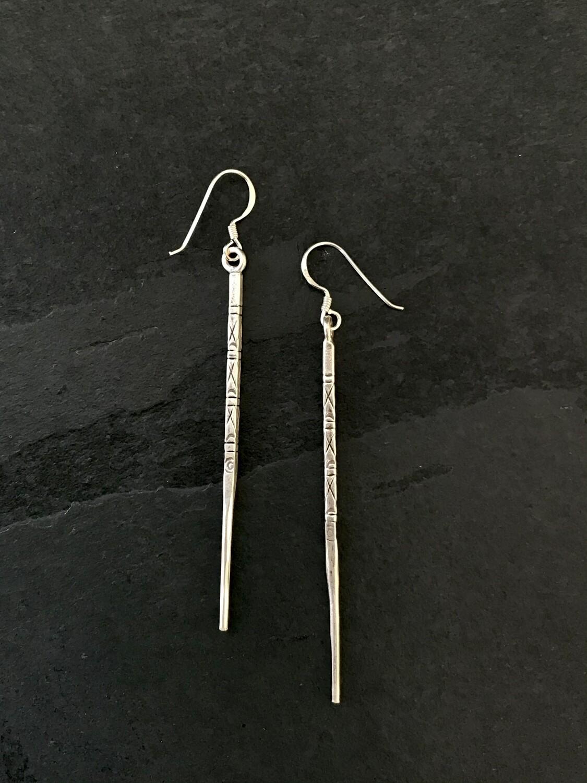Hill Tribe Silver Long Thin Spike Earrings - HTE11-1