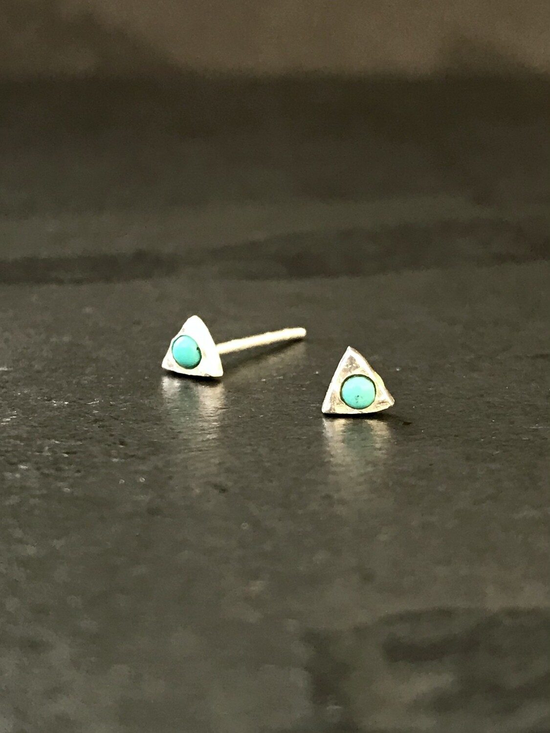 Sterling Silver Tiny Triangle Turquoise Post Earrings - P90-5