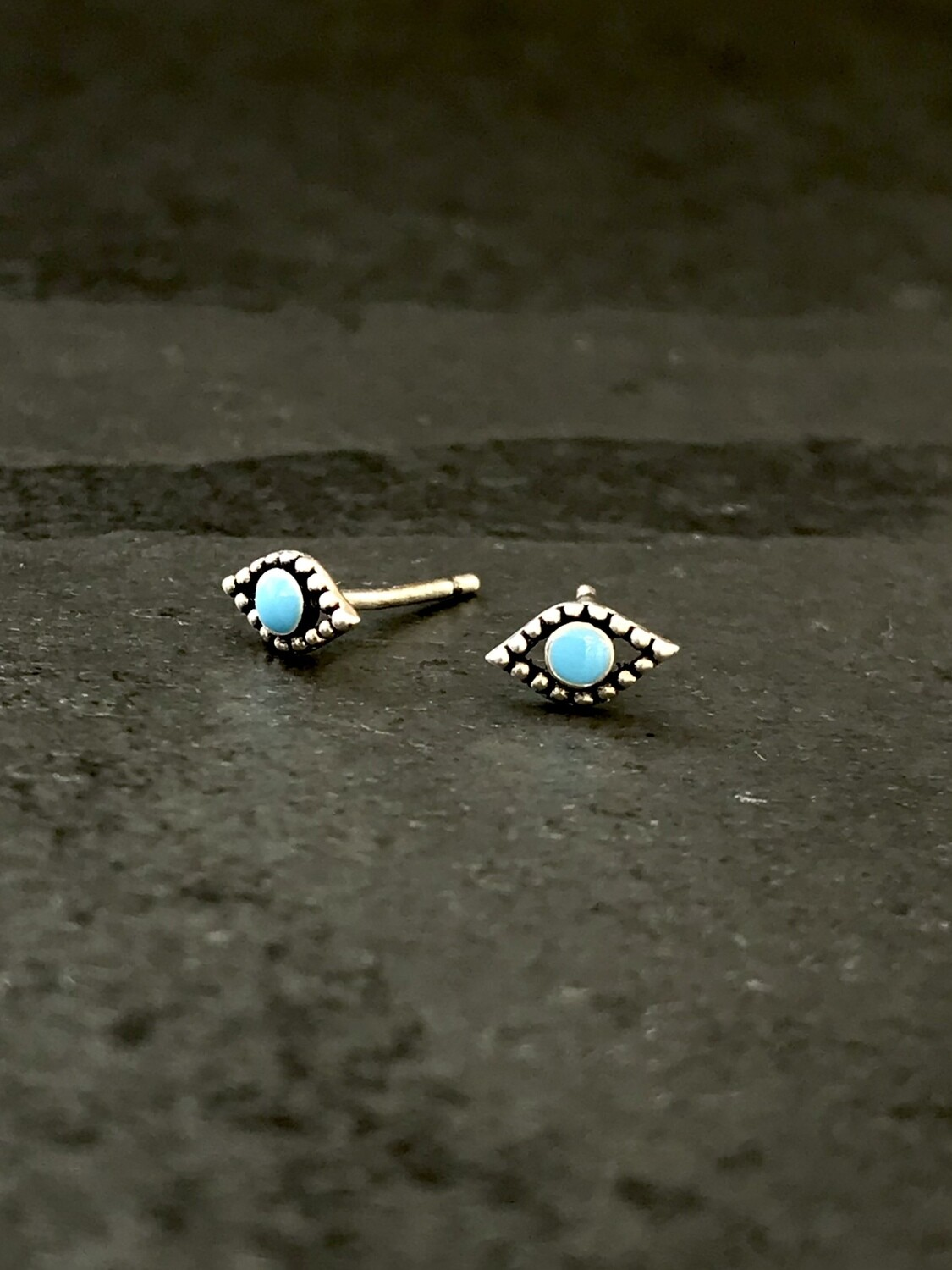 Sterling Silver Tiny Turquoise Eye Post Earrings - P90-2