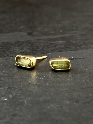 Gold Over Silver Green Tourmaline Bar Post Earrings - P91-1
