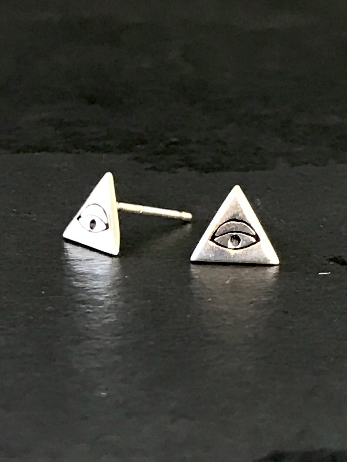 Sterling Silver Tiny Triangle Eye Post Earrings - P90-3