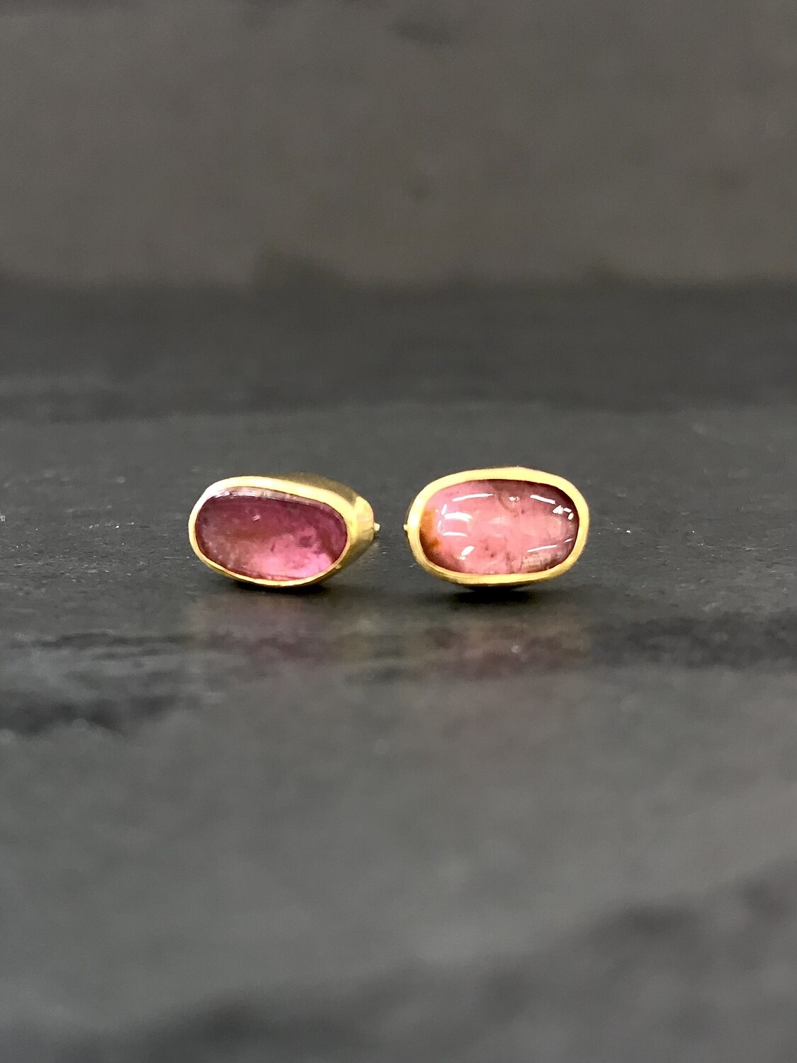 Gold Over Silver Watermelon Tourmaline Post Earrings - P91-2