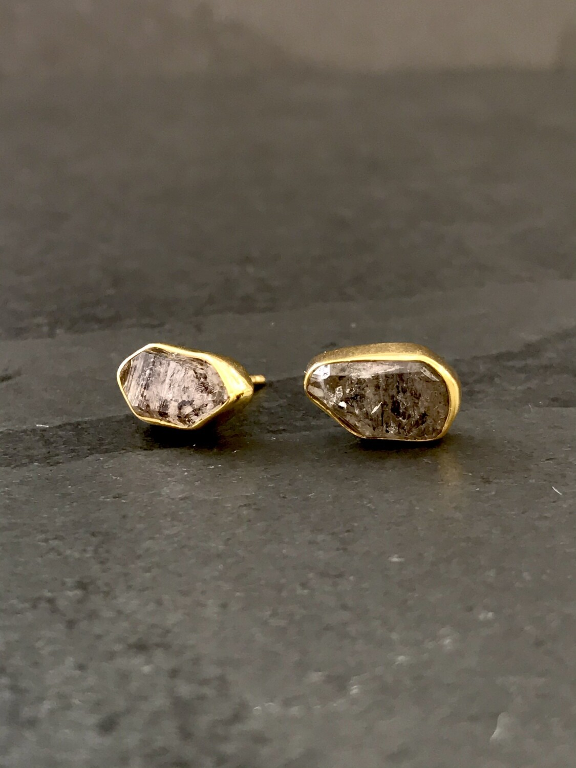 Gold Over Silver Herkimer Post Earrings - P91-3