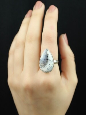 SIZE 7 - Sterling Silver Dendritic Agate Teardrop Ring - RIG7100