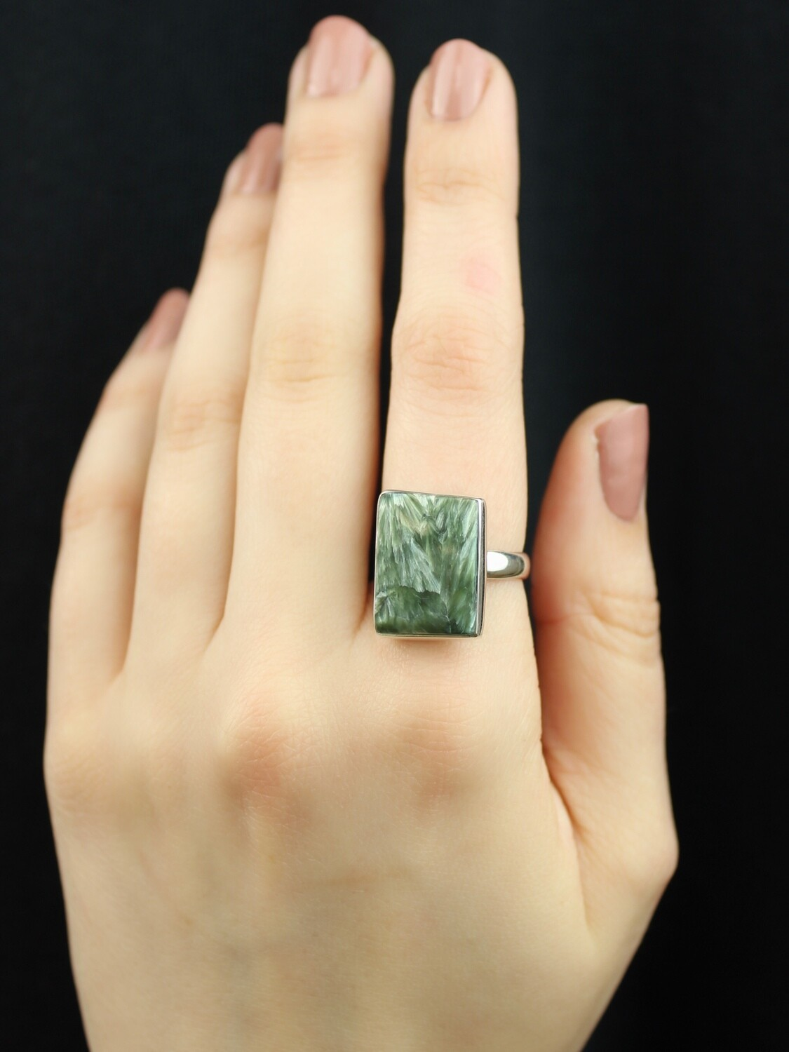 SIZE 8 - Sterling Silver Seraphinite Rectangular Ring - RIG8102