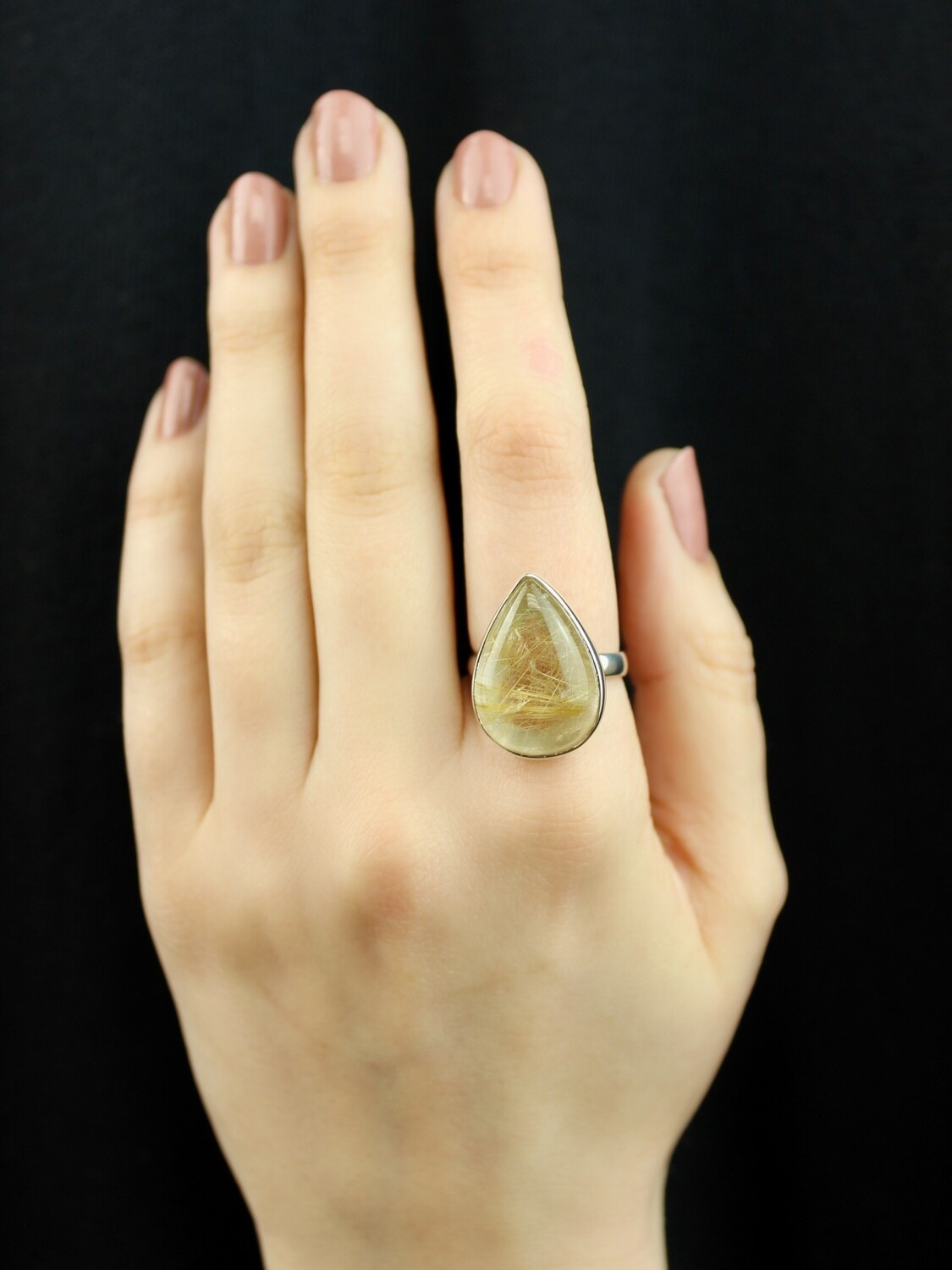 SIZE 8 - Sterling Silver Rutilated Quartz Teardrop Ring - RIG8100
