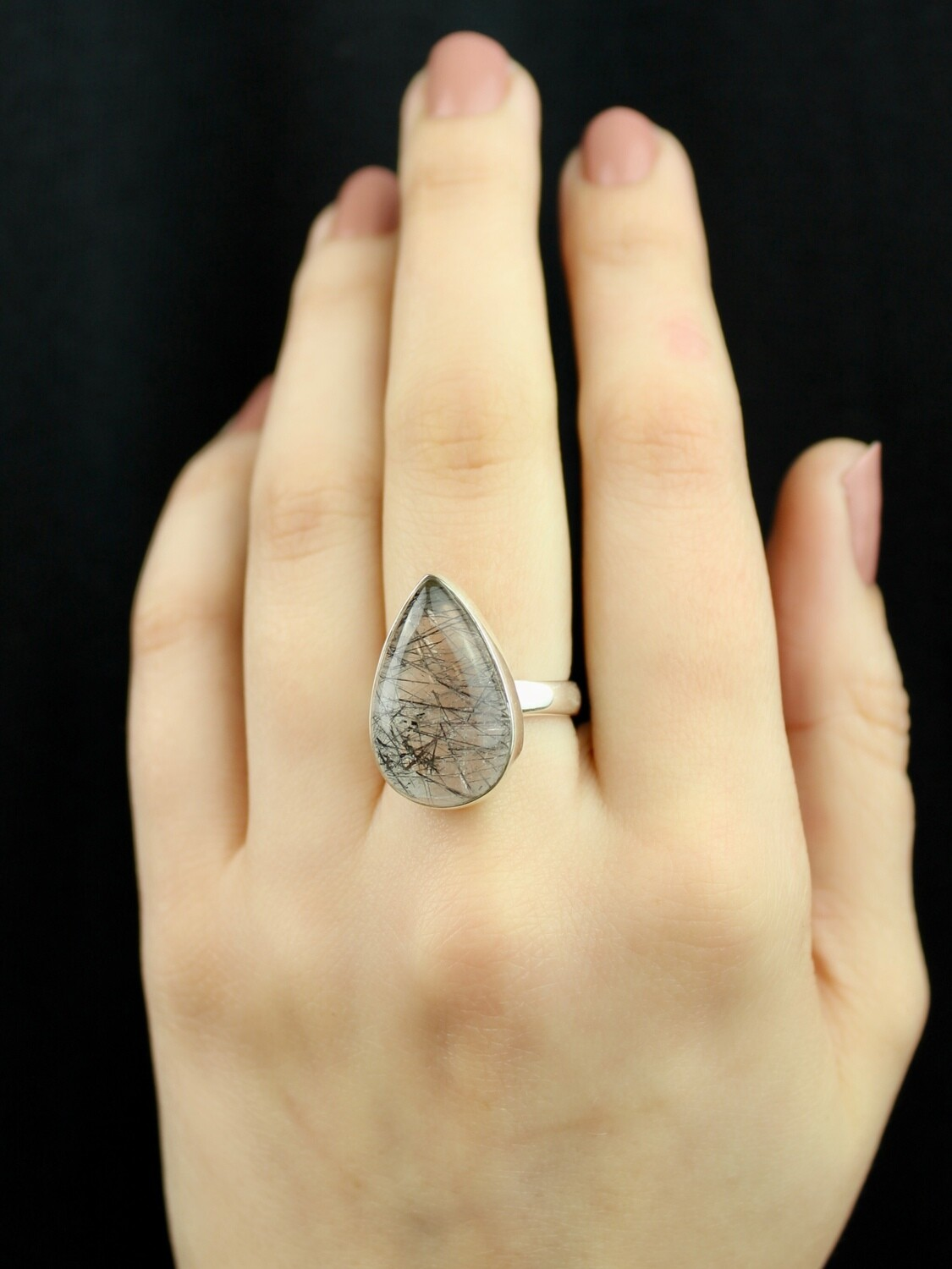 SIZE 7 - Sterling Silver Tourmalated Quartz Teardrop Ring - RIG7103