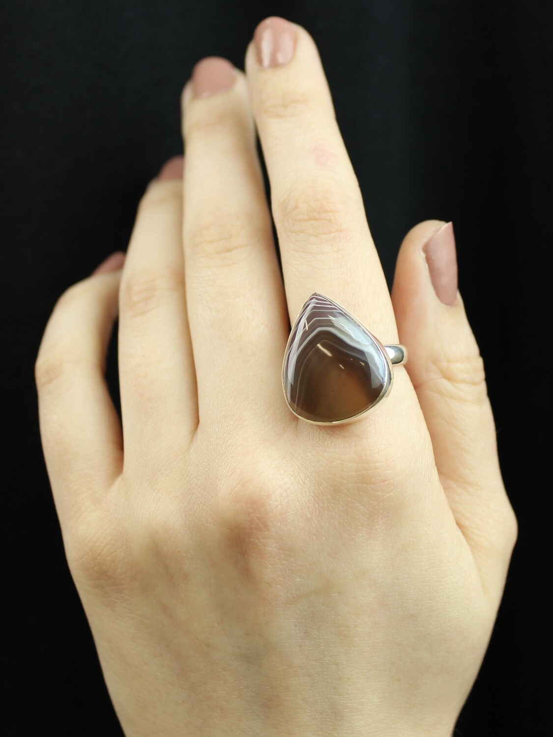 SIZE 9 - Sterling Silver Banded Agate Teardrop Ring - RIG9100
