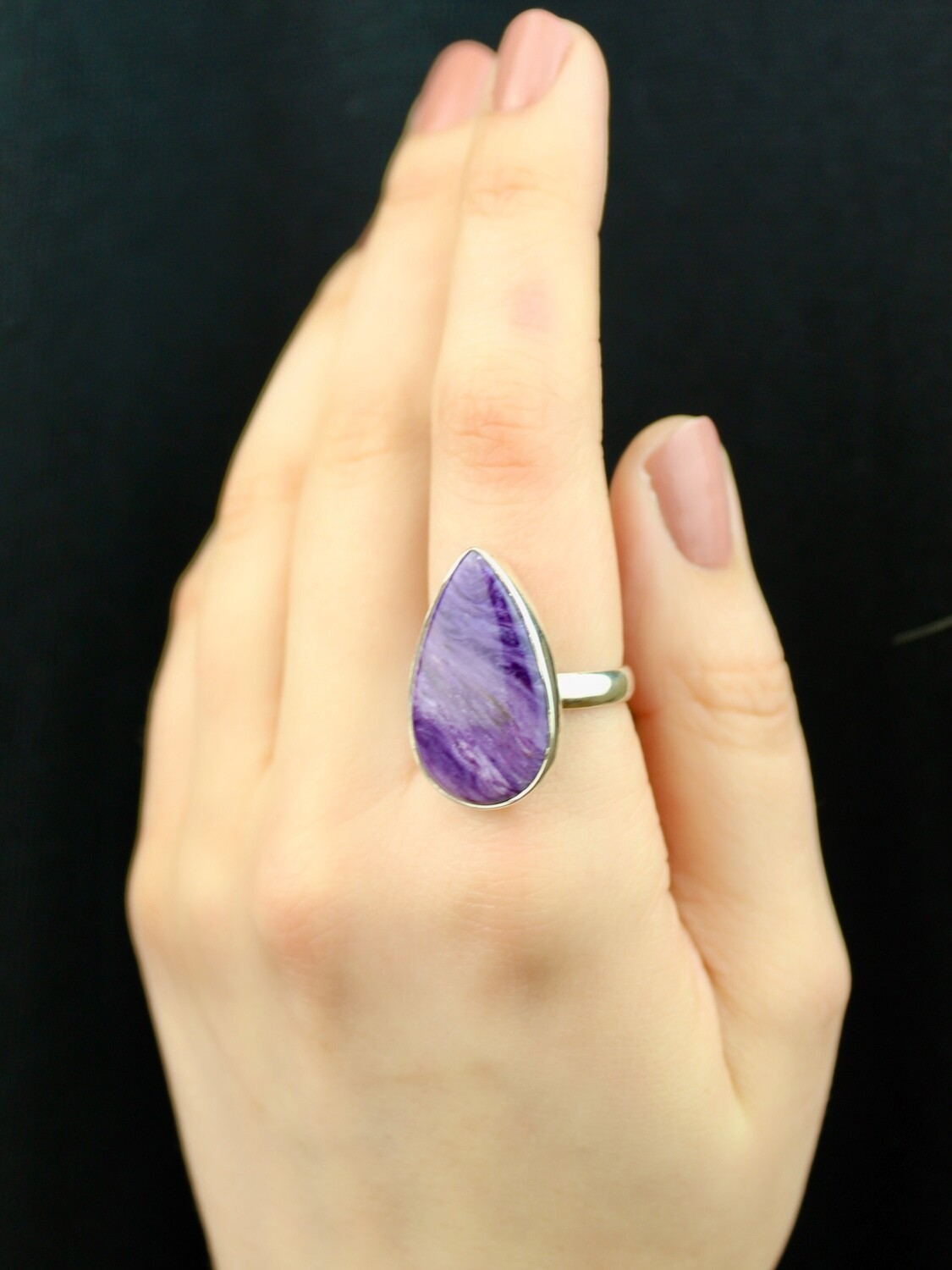 SIZE 8 - Sterling Silver Charoite Teardrop Ring - RIG8101