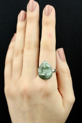 SIZE 9.25 - Sterling Silver Seraphinite Teardrop Ring - RIG9102