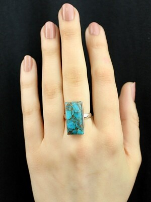 SIZE 7 - Sterling Silver Blue Copper Turquoise Rectangle Ring - RIG7104