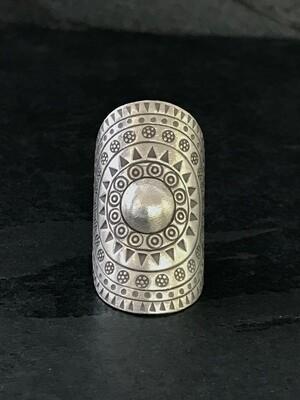 Hill Tribe Silver Mandala Shield Ring - RAN9-3