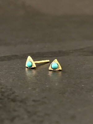 Gold Over Silver Tiny Triangle Turquoise Post Earrings - P91-5