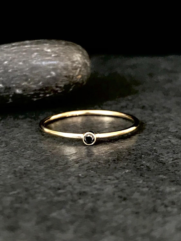Gold-Filled Little Black CZ Ring - RRG13