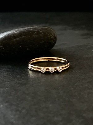 Gold-Filled Triple CZ Double Band Ring - RRG23
