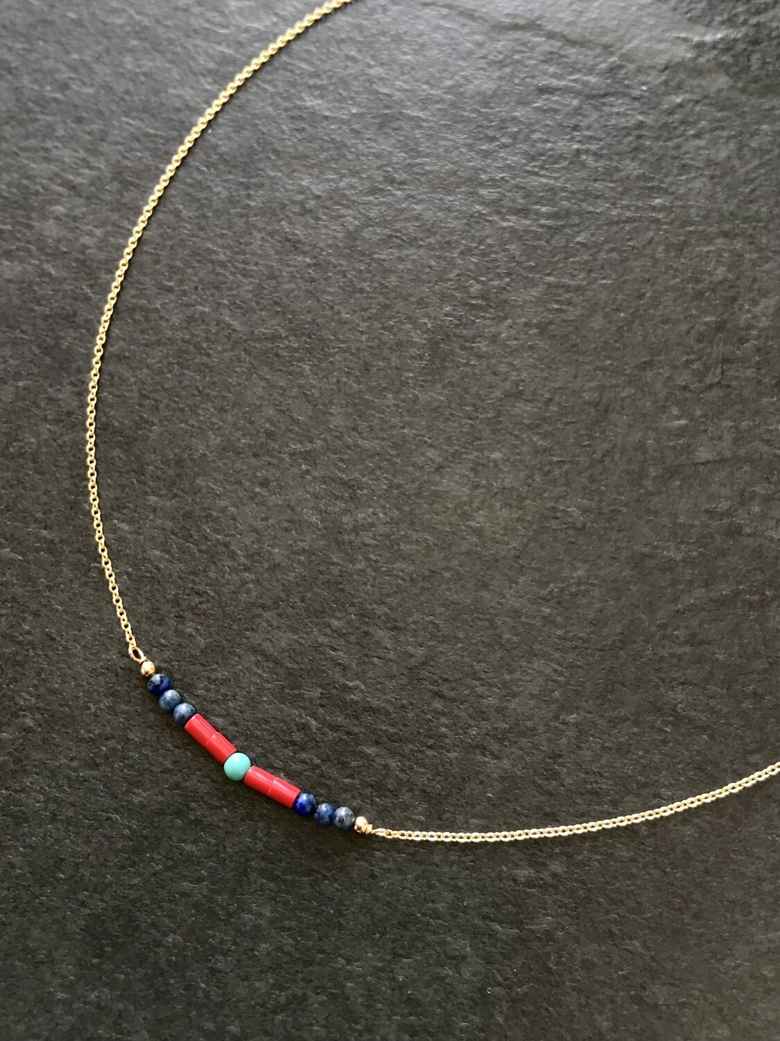 Lapis, Coral & Turquoise Artemis Necklace - GDFDSN2