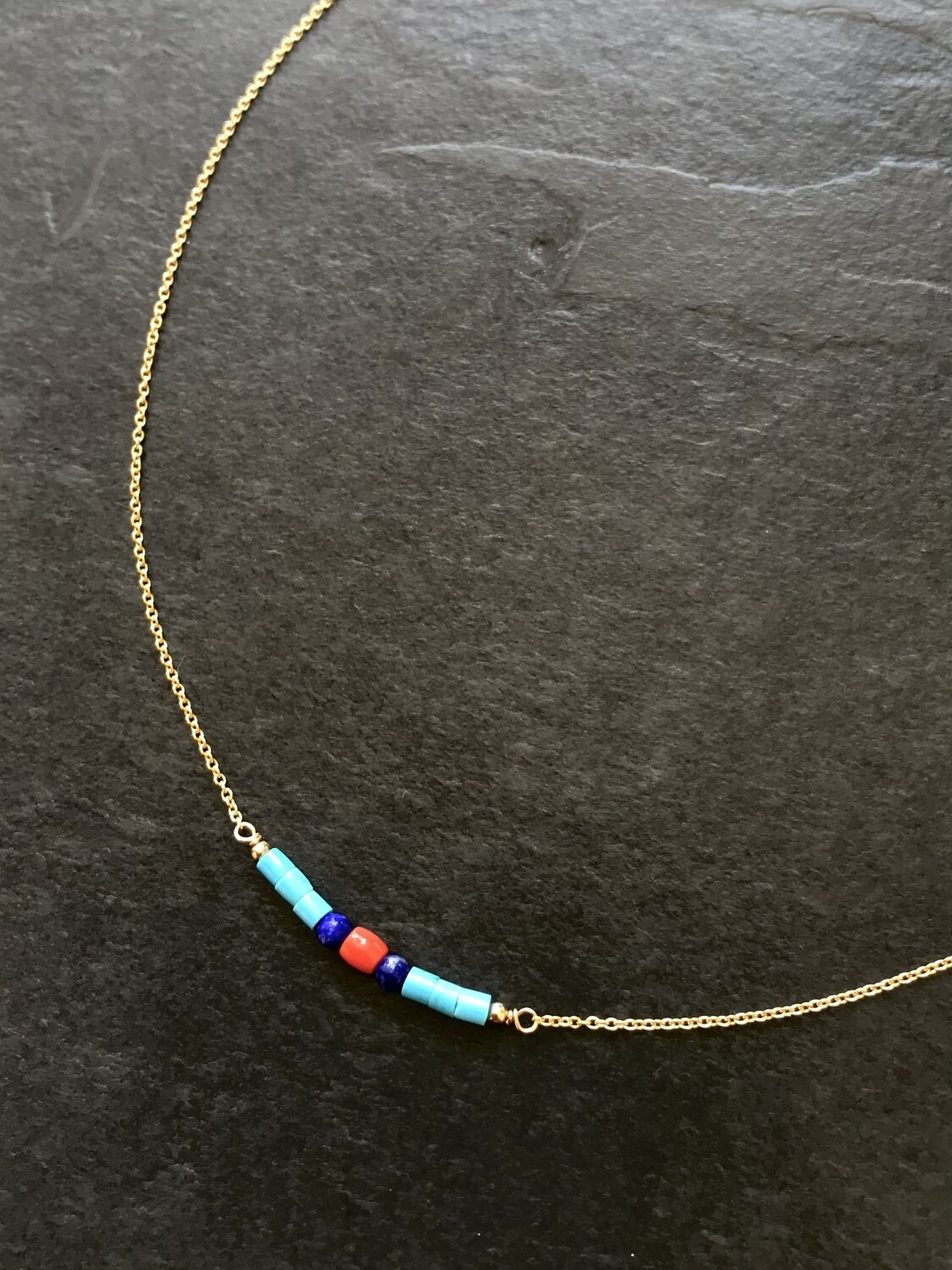 Turquoise, Lapis & Coral Artemis Necklace -GDFDSN3