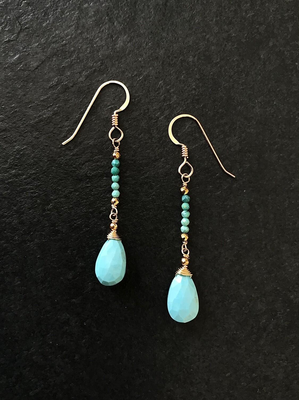 Turquoise & Teardrop Ombre Minerva Earrings - GDFD5