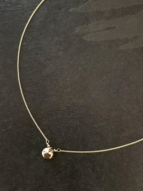 Pyrite Athena Pear Necklace - GDFDBN2-PYS