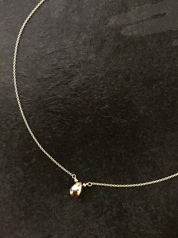 Pyrite Athena Teardrop Necklace - GDFDBN2-PYL