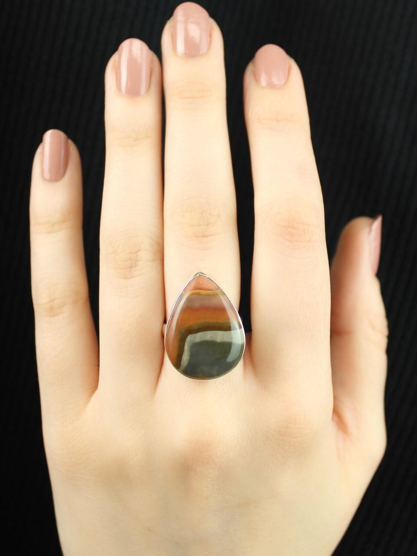 SIZE 6.75 - Sterling Silver Polychrome Jasper Teardrop Ring - RIG6101