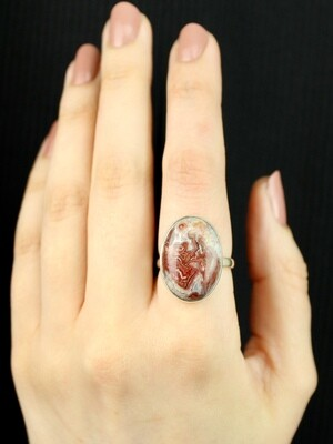SIZE 9 - Sterling Silver Crazy Lace Agate Ring - RIG9106