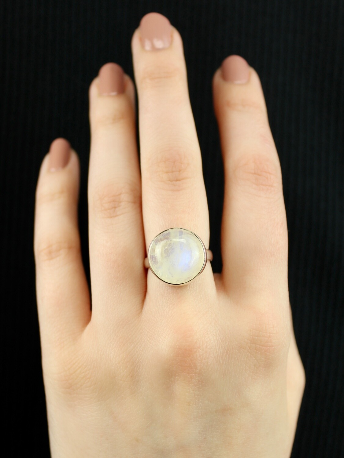 SIZE 6.75 - Sterling Silver Round Rainbow Moonstone Ring - RIG6100