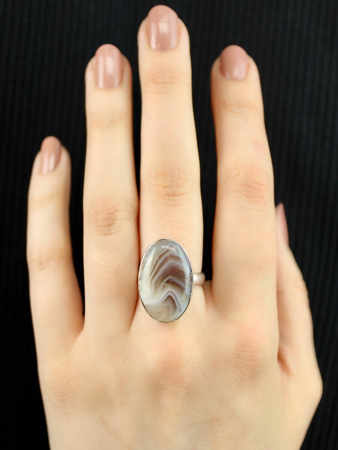SIZE 6.75 - Sterling Silver Oval Banded Agate Ring - RIG6102