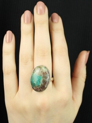 SIZE 9.25 - Sterling Silver Amazonite Ring - RIG9108