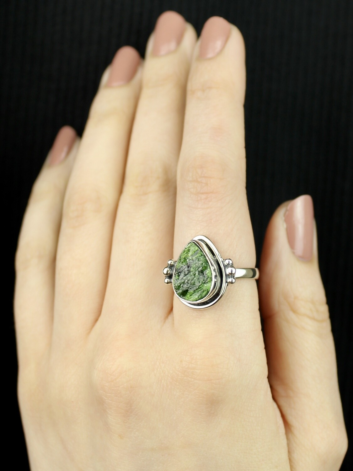 SIZE 9.25 - Sterling Silver Chrome Diopside Ring - RIG9114