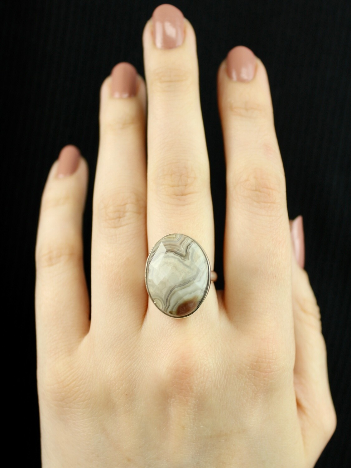 SIZE 6.75 - Sterling Silver Crazy Lace Agate Ring - RIG6103