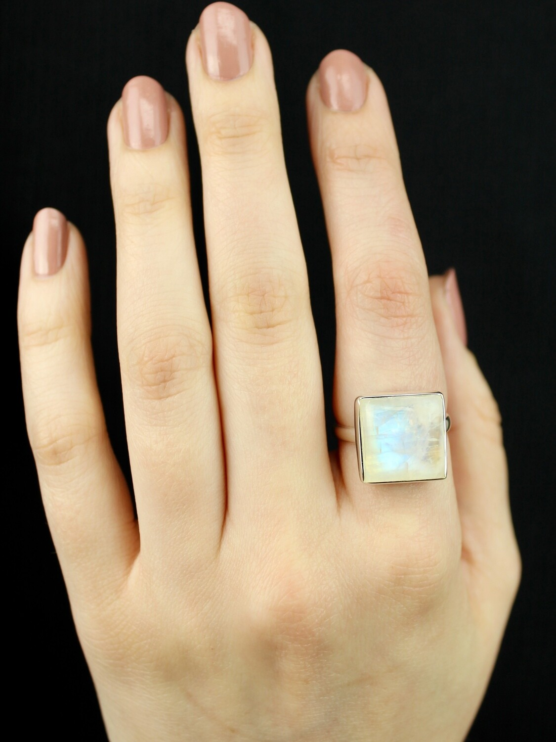 SIZE 9 - Sterling Silver Rainbow Moonstone Square Ring - RIG9104