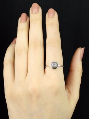 SIZE 10.25 - Sterling Silver Little Round Labradorite Ring - RIG10104