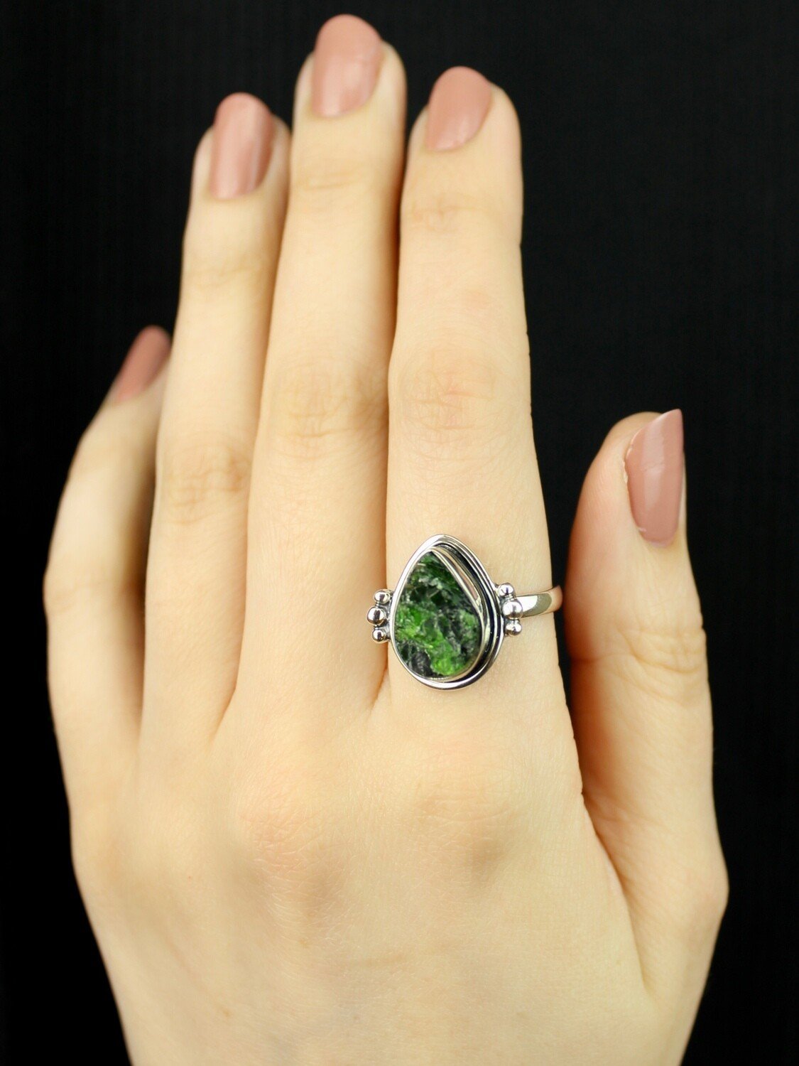 SIZE 10 - Sterling Silver Chrome Diopside Ring - RIG10106