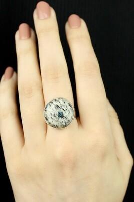 SIZE 7.5 - Sterling Silver Round K2 Jasper Ring - RIG7107