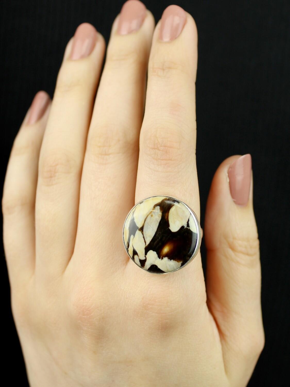 SIZE 9.5 - Sterling Silver Peanut Wood Jasper Round Ring - RIG9103