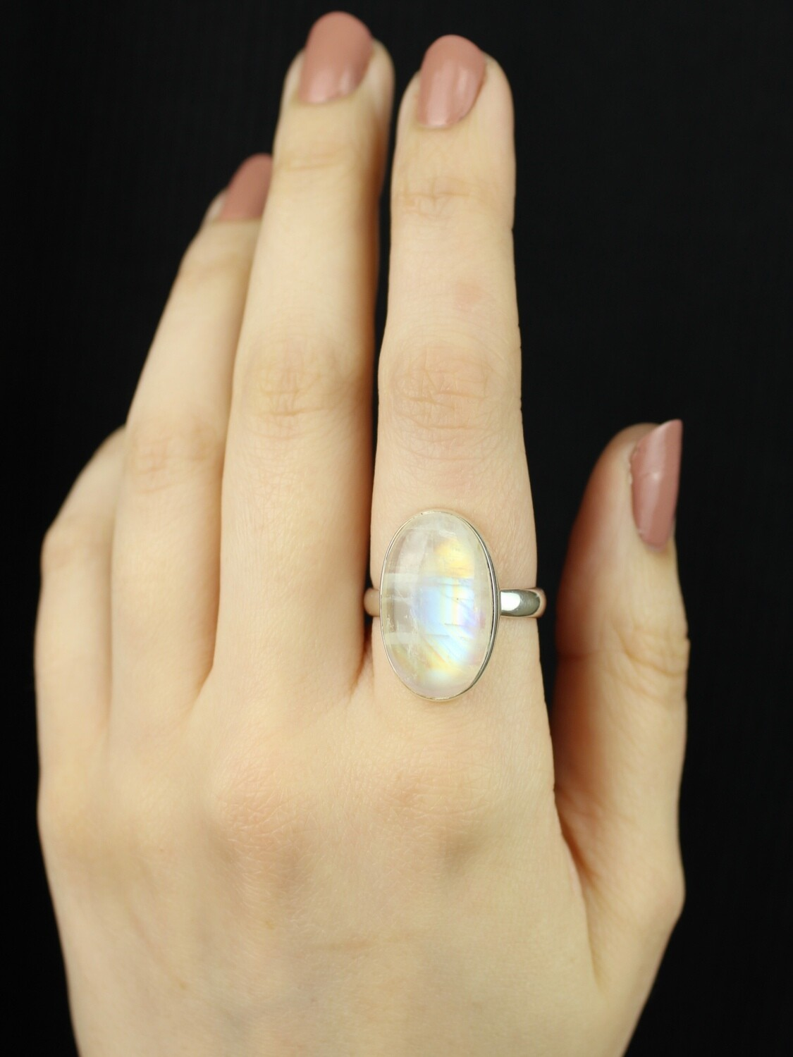 SIZE 10 - Sterling Silver Rainbow Moonstone Oval Ring - RIG10100