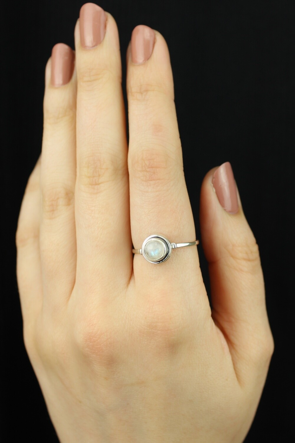 SIZE 10 - Sterling Silver Little Round Rainbow Moonstone Ring - RIG10105