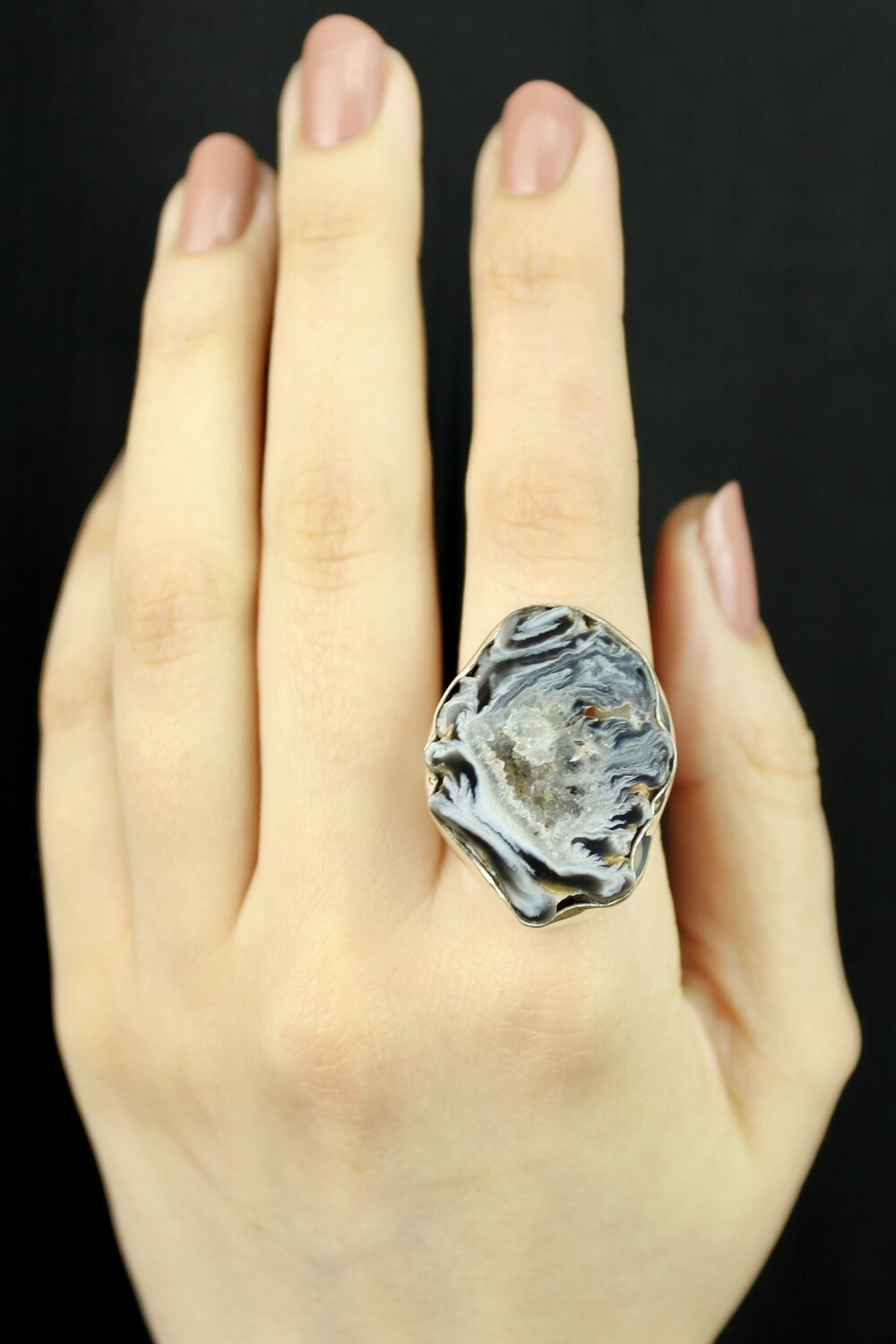 SIZE 10 - Sterling Silver Oco Geode Ring - RIG10102