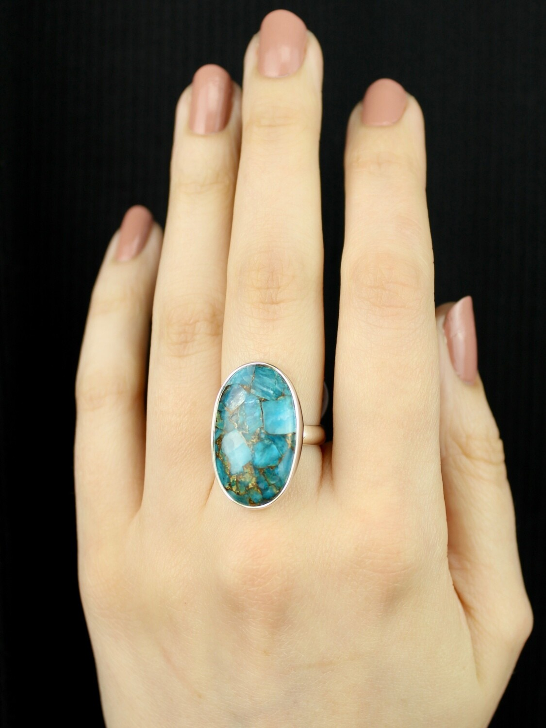 SIZE 7 - Sterling Silver Mojave Turquoise Oval Ring - RIG7108