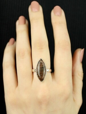 SIZE 7 - Sterling Silver Tourmalated Quartz Ring - RIG7110