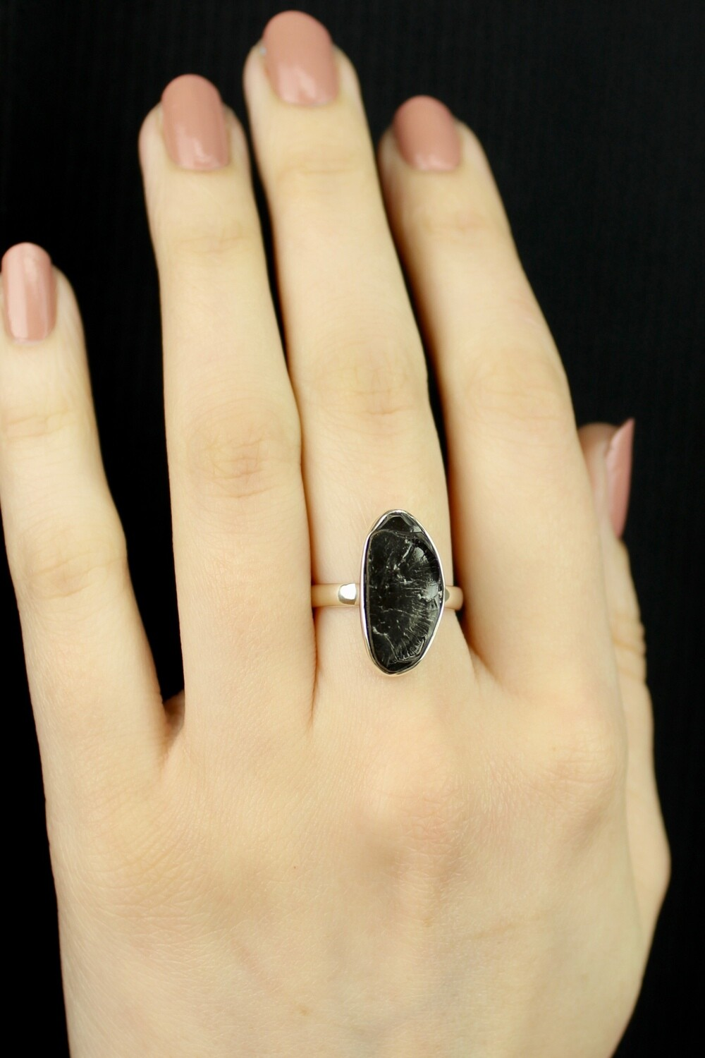 SIZE 7 - Sterling Silver Shungite Ring - RIG7114
